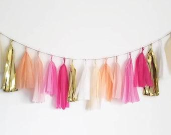Tissue paper garland,custom garland,tassel garland,Pink tassel garland,Blush tassel garland,Baby shower garland,cake smash,bridal shower