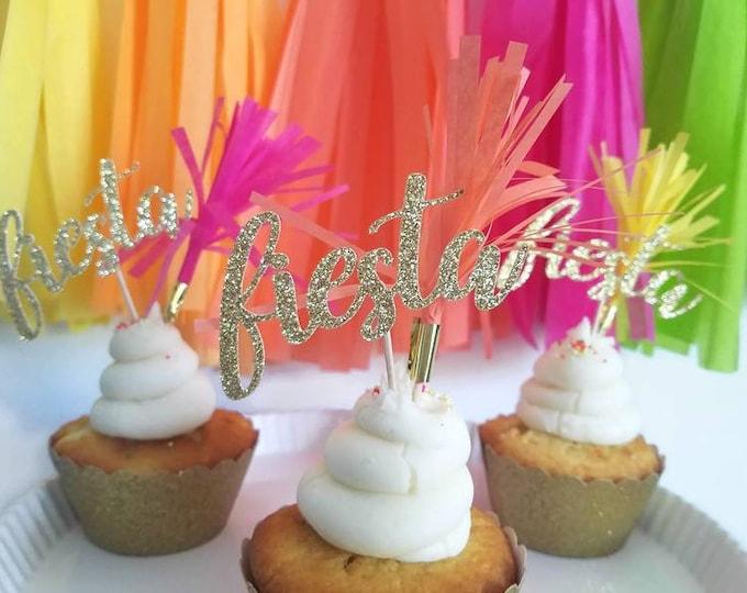 Fiesta cupcake topper,fiesta cupcake pick,fiesta decorations,final fiesta decorations,final fiesta bachelorette,fiesta birthday,taco party