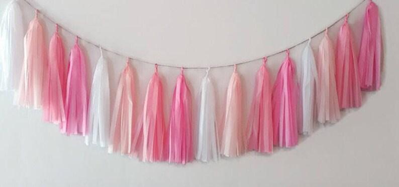 Pink tassel garland,Blush tassel garland,Pink fringe,Baby shower garland,Birthday garland,nursery garland,Baby girl,Girl party,Pink Party
