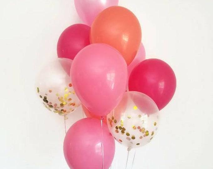 Confetti balloon set,balloon bouquet,confetti balloon bouquet,pink balloon set,pink party balloons,birthday decor,bridal shower,baby shower