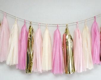 Pink gold tassel garland,blush tassel garland,baby shower tassel Garland, wedding garland, blush wedding, blush gold fringe, Pink party