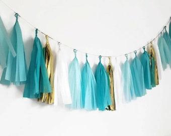Assembled tassel garland,tissue paper garland,custom tassel garland,blue tassel garland,pick  your own colors,birthday garland,baby shower