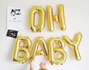 Baby balloon,Oh baby balloon banner,Oh Baby balloons, baby letter balloon set,baby shower garland,balloon letters,baby shower