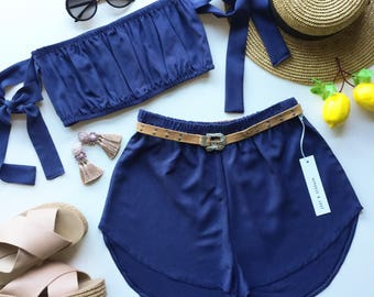 4d390a0faf3 Blue navy matching set festival set fashion twin set crop tie up bow tube  top high waisted shorts