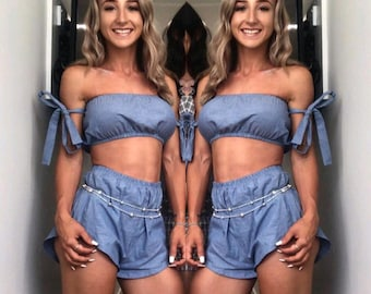 ee98975b6d2 Linen pastel blue cotton matching set festival set fashion twin set tie up  bow crop tube top high waisted shorts