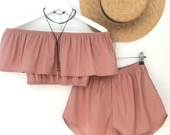 8775bc7012e Blush dusty pink off the shoulder crop top and high waisted shorts boho  outfit festival fashion matching set