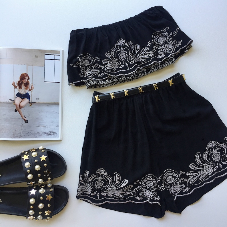0fde476f55 Black Hussy embroidered matching set festival set fashion twin