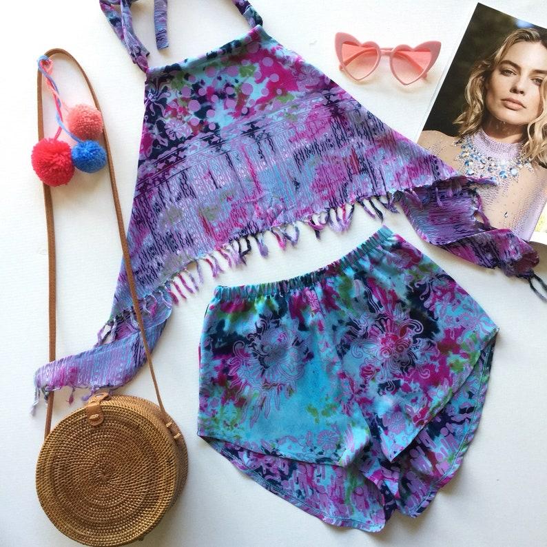 5e291e51866 Aqua blue pink print fringed halter crop top high waist shorts