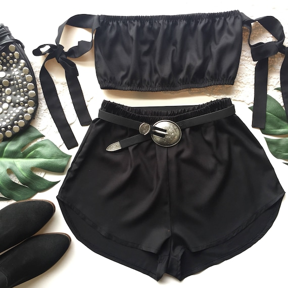 85fe95a9f1 Black matching set festival set fashion twin set tie up bow