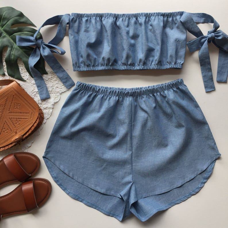dabb1eba1c Linen pastel blue cotton matching set festival set fashion