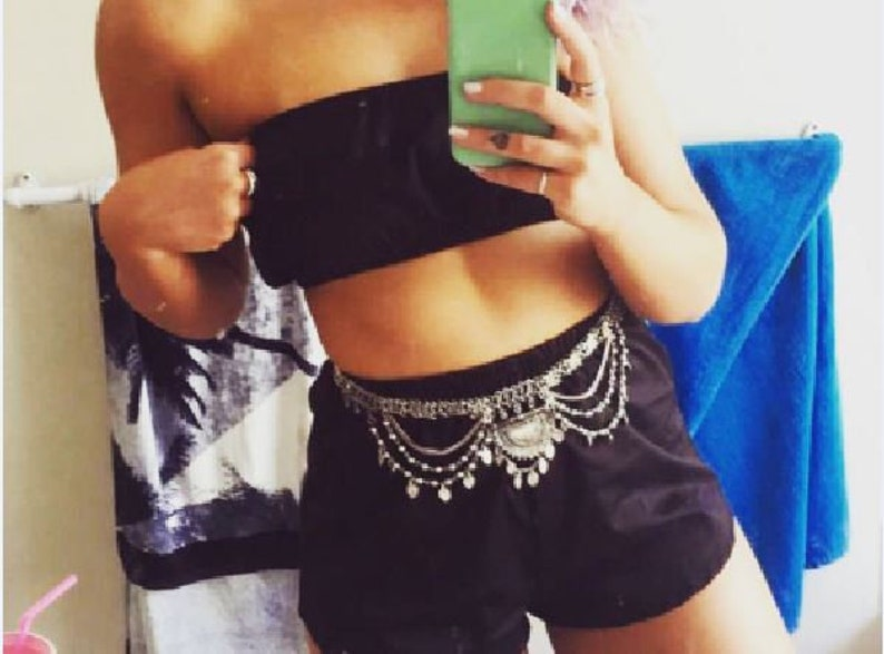19d5b09625d Black boob tube crop top high waisted shorts coord matching