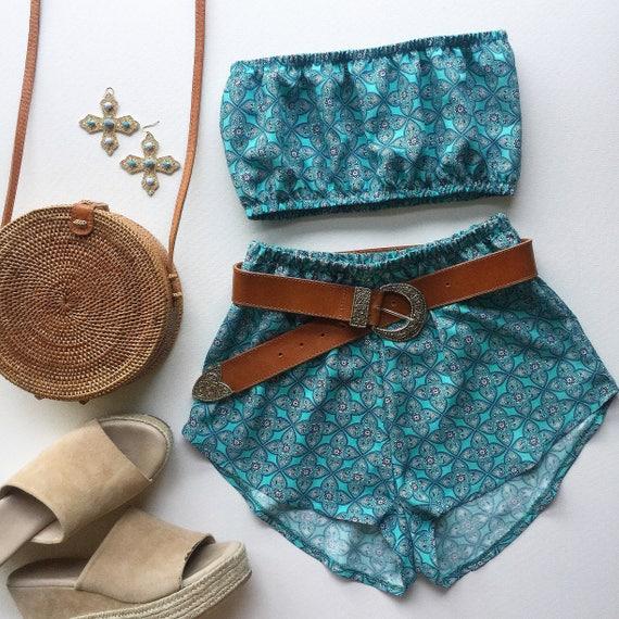 2bdf077cb7 Turquoise aqua mandala print matching festival fashion twin