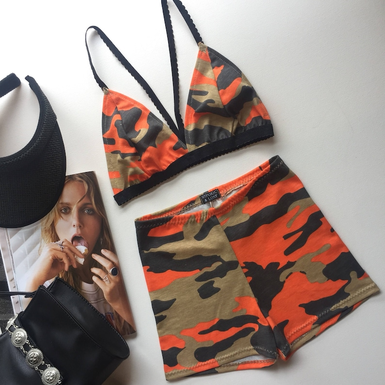 d3a82976a91 Orange camouflage matching festival clothing outfit set bra