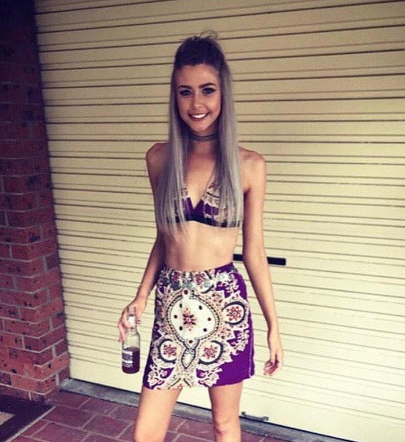 86cdab6a524f Purple boho paisley outfit festival fashion set skirt and crop | Etsy