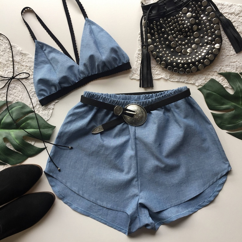 10690ef3fbe Light Blue linen Festival Outfit Matching set triangle bra top