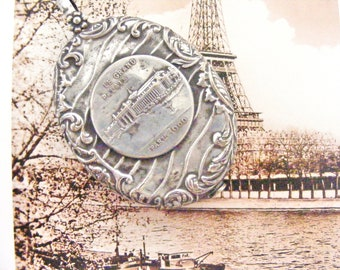Antique French slide mirror locket Paris exhibition 1900