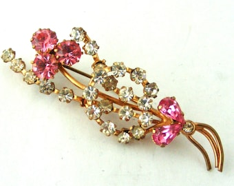 a4b1650c2 Vintage 1940s pink and clear paste spray brooch