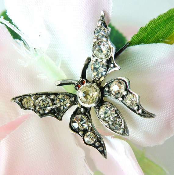 French paste butterfly brooch silver hallmarked