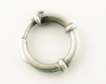 RESERVED for DAWN Large sterling silver spring ring bolt ring for Victorian locket book chains