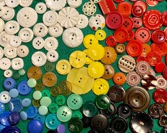 Vintage Plastic Buttons, 6 ounces, Colt, SPC, resin, Colorful Assortment 1950s - 80's