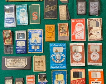 27 Vintage Needle and Pins Packs from Various Manufacturers and 3 ounces loose needles- Free Shipping