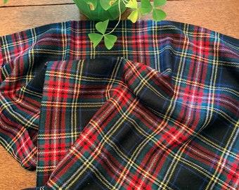"Craigmill Wool Tweed Skirt Length, 60"" x 1 yard, Black Stewart, Made in Scotland"