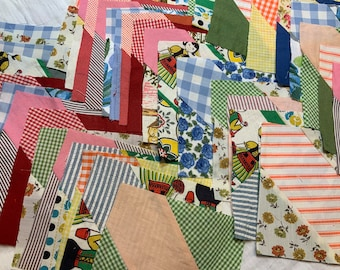 """Free Shipping, 42 5"""" unfinished pieced blocks, 1960's fabrics, various materials"""