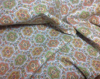 One Yard Vintage Mid Century Cotton Percale Narrow Width 1960s Avocado Green Gold and Orange
