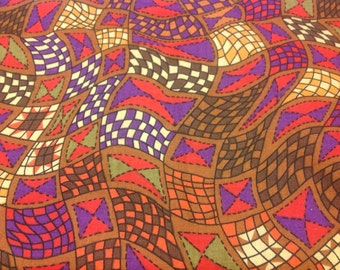 One Yard Susie Robbins Cotton Fabric Optical Illusion Quilting Design Purple Red Brown