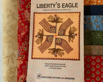 """Free Shipping, Liberty's Eagle Quilt Pattern and Six Yards Reproduction Quilting Cotton for 42"""" wall hanging"""