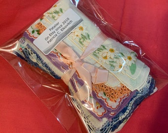 Free shipping, One Dozen Vintage Hankies, various sizes, Floral, Tatting, Embroidery,