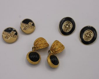 Three Pairs of Vintage 80s Black and Gold Clip On Earrings