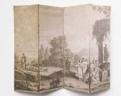 Miniature 18th Century French Countryside Sepia Landscape Dollhouse Room Screen Divider in Shabby Aged Look 1 12 or Half Scale