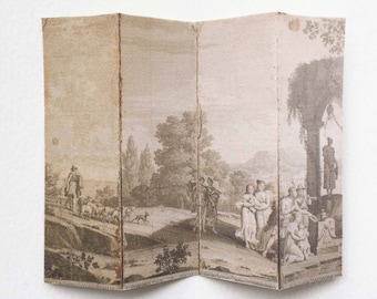 Miniature 18th Century French Countryside Sepia Landscape Dollhouse Room Screen Divider in Shabby Aged Look 1:12  or Half Scale