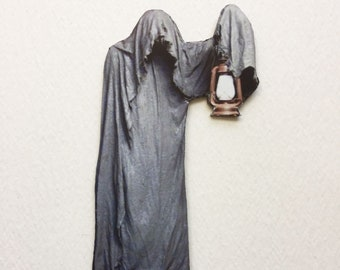 gray ghost with lantern 112 scale miniature spooky prop for haunted house halloween diorama or dollhouse
