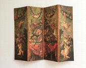 Miniature Room Screen 18th Century European Reproduction With Cherubs Roses and Fruit in 1 12 Dollhouse Scale