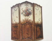 Miniature French Dressing Screen Room Divider Wood Look Antique Reproduction 1 12 Dollhouse Scale