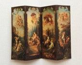 Miniature 18th Century Rococo Design Dollhouse Fabric Room Screen Divider With Cherubs in 1 12 Scale