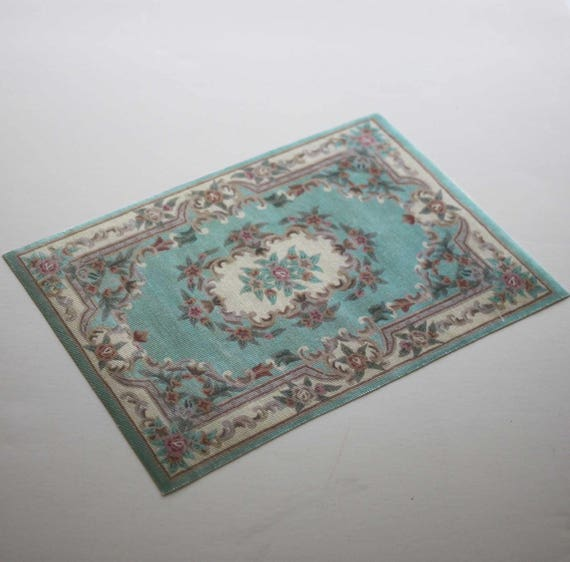 Miniature Rug Aqua Background Floral In Several Sizes 1:12