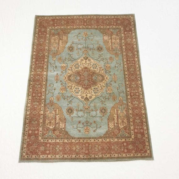Scale Miniature Oriental Rug In Aqua And Cocoa In Several