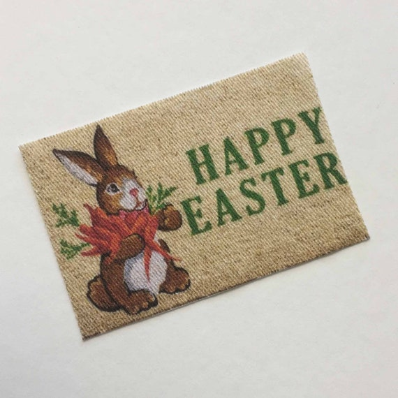Miniature Happy Easter Doormat With Rabbit And Carrots In 1 24 Etsy