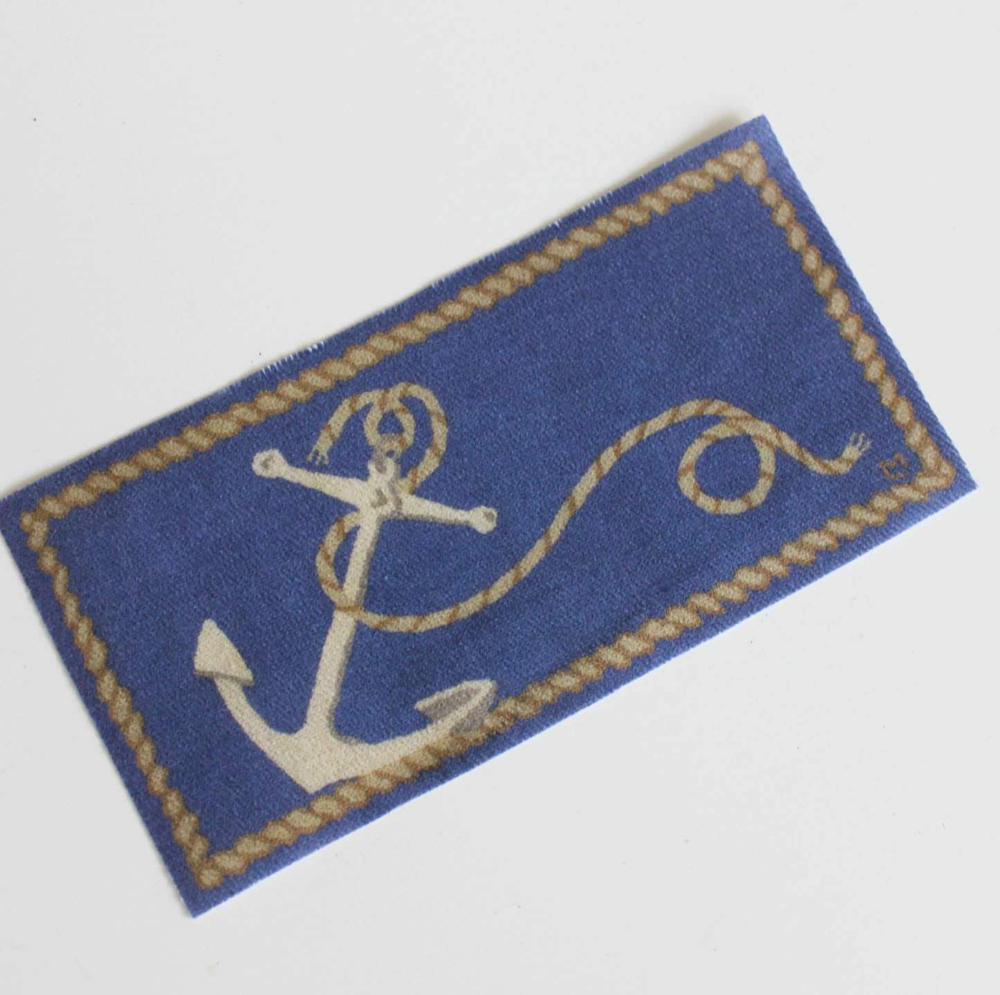 Nautical Blue Rug: Miniature Blue Rug Nautical Anchors Aweigh Rectangular In