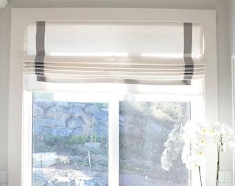 Roman Shade Custom, with ribbon trim, White Roman Shade, Custom window treatments, custom window curtains, fabric blinds, fabric shades,