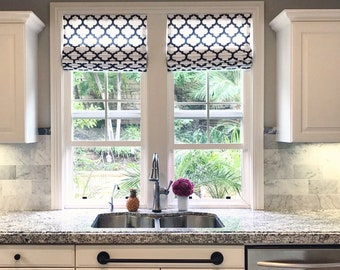 Custom Flat Roman Shade in Your fabric and drapery lining, custom window blind for kitchen, bathroom, laundry, bedroom, living room curtain