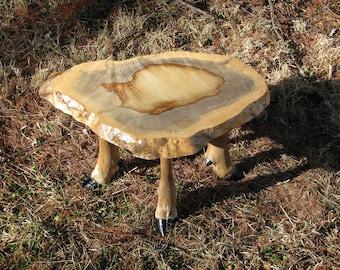 Slab table legs etsy taxidermy deer leg table or footstool with wood slab watchthetrailerfo