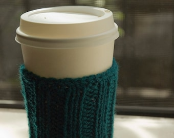 Knitted Cup Cozy - Dark Turquoise