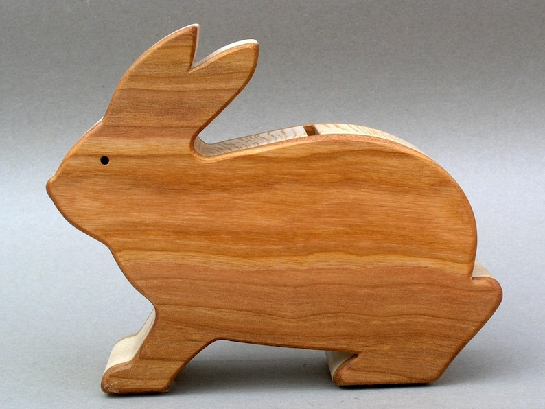 Wooden Bunny Piggy Bank Rabbit Coin Bank for Kids Children image 0