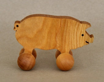 Pig Toy on Wheels, Wooden Farm Animals for Children, Handcrafted and Organic Party Favor for Kids Waldorf Rolling Play Boys Girls Toddlers T