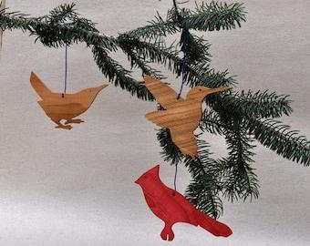 wooden Bird Ornaments, Cardinal, Wren, Humming Bird for mobiles tree decorations stencils children's room baby boys girls waldorf montessori