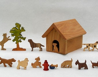 Doghouse Ten Different Wooden Dogs Ideal Gift for a Dog lover wooden pets, nontoxic wooden toys